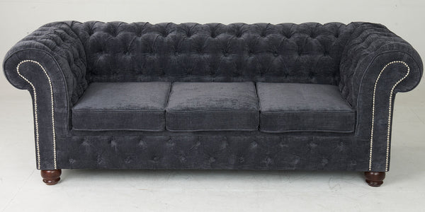 Birley Velvet Grey Chesterfield Sofa
