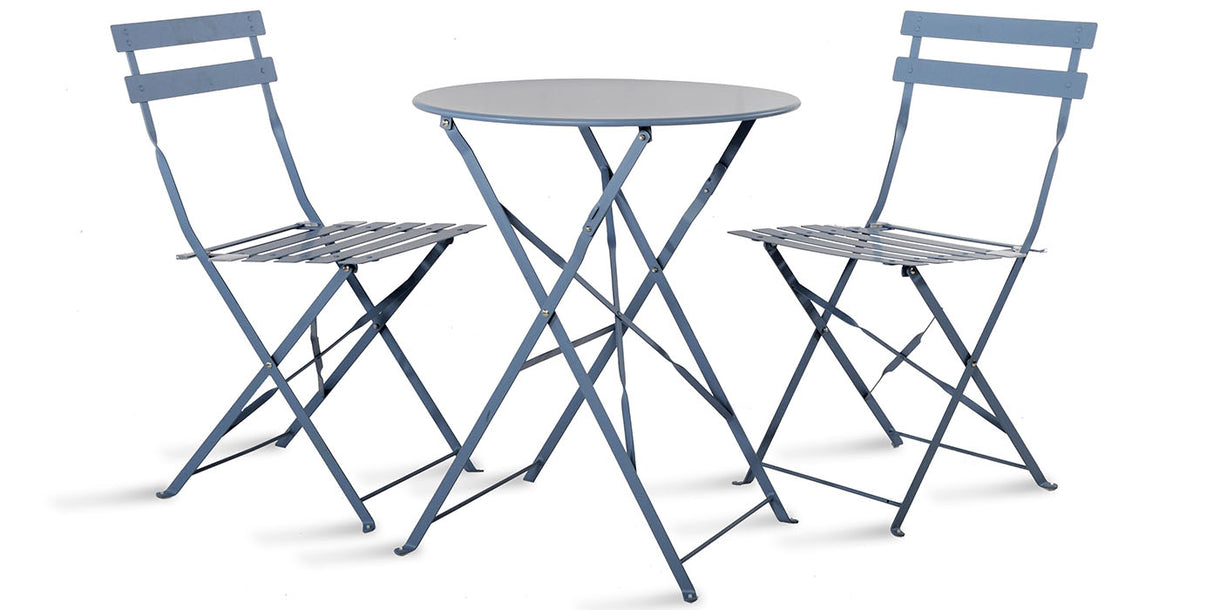 Small Round Table and Chairs Bistro Set in Blue