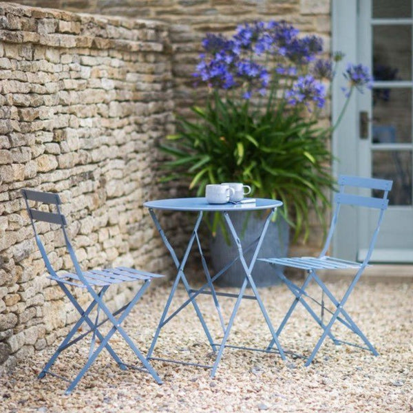 Small Round Table and 2 Chairs Bistro Set in Blue in Garden