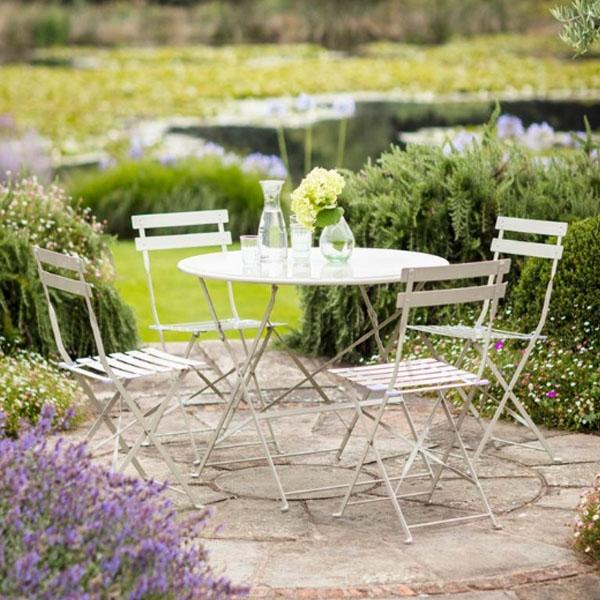 Bistro Set with 4 Chairs and Round Garden Table