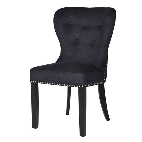 Black Button Back Dining Chair