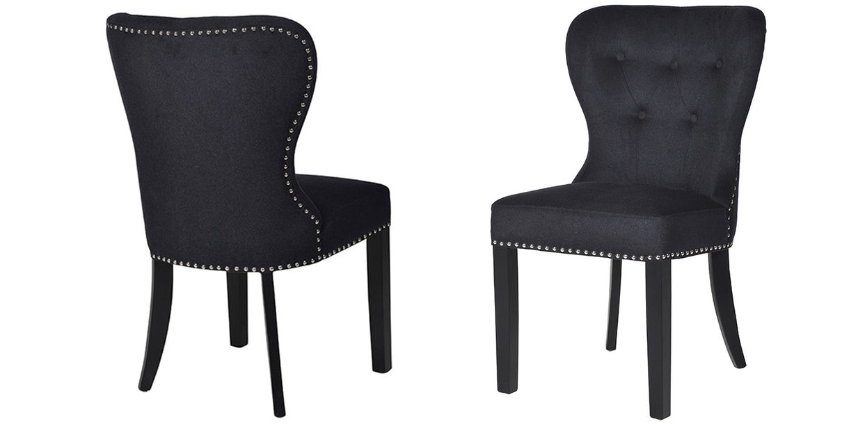 Black Button Back Dining Chairs