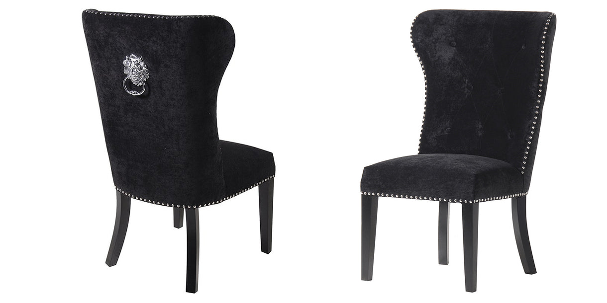 Black Dining Chairs With Lion Knocker