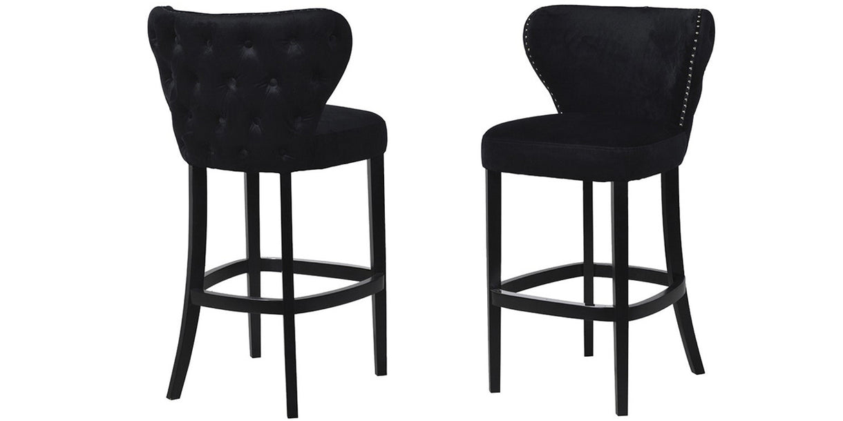 Chelsea Black Velvet Bar Chair with button back