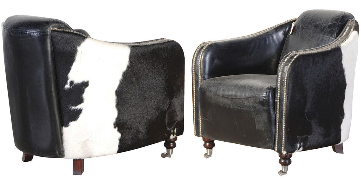 Black & White Leather Hide Club Chair