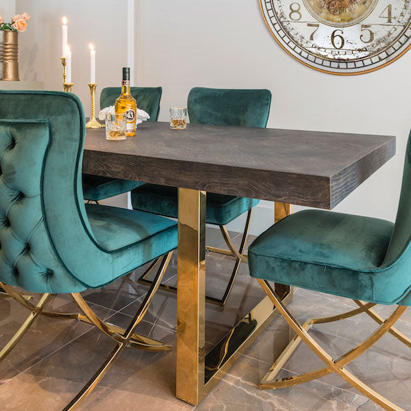 Industrial Dining Table with Golden Legs and Dark Top