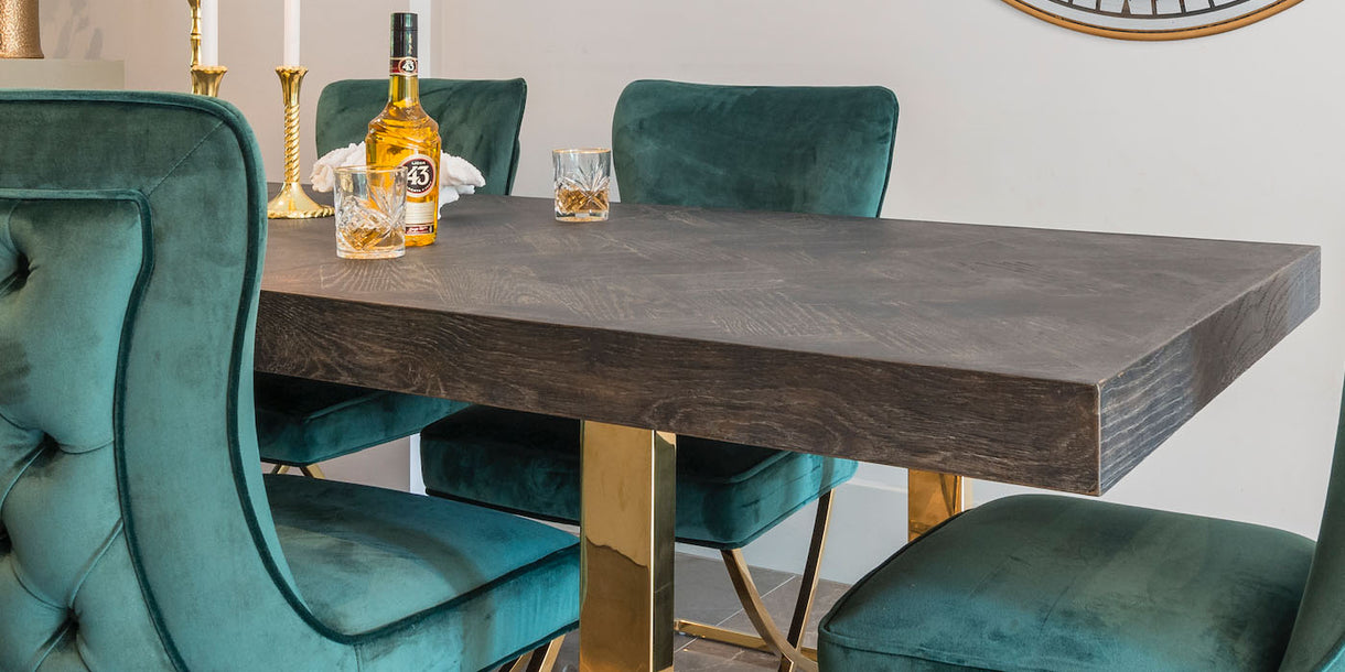 Blackbone Industrial Oak Extendable Dining Table with Chairs