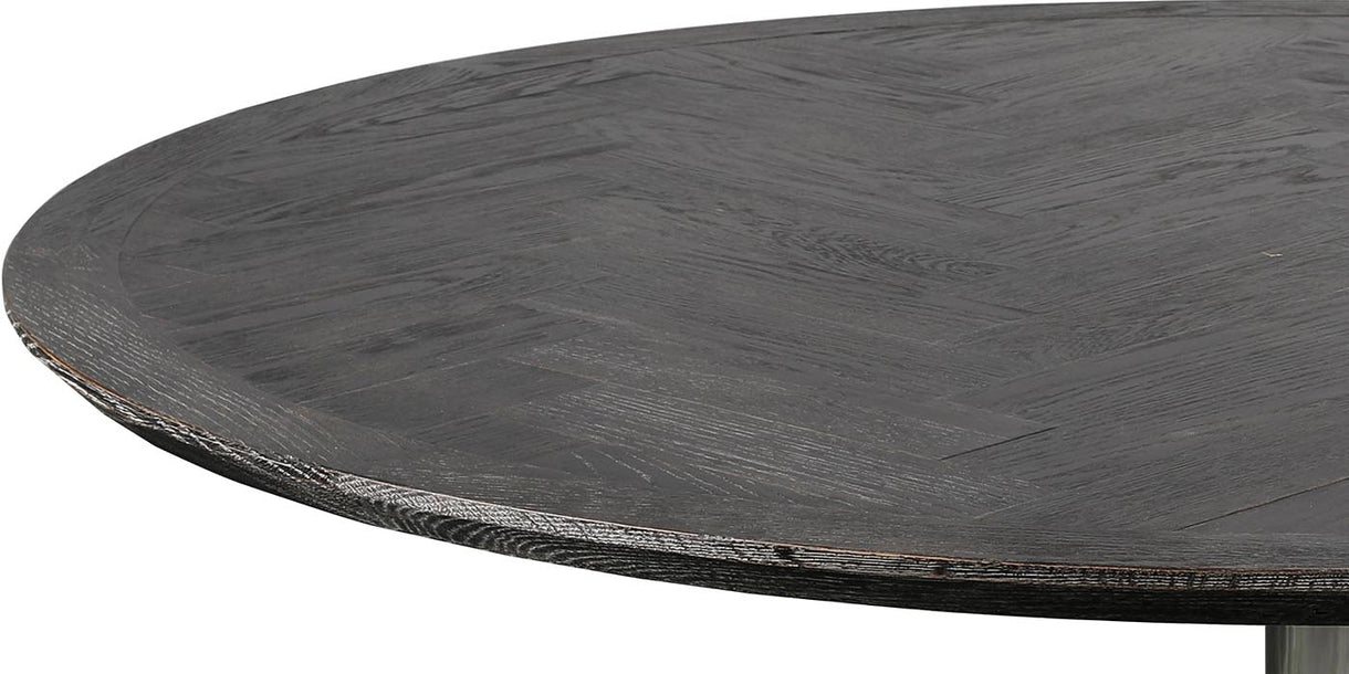 Top of Blackbone Industrial Oak Round Dining Table