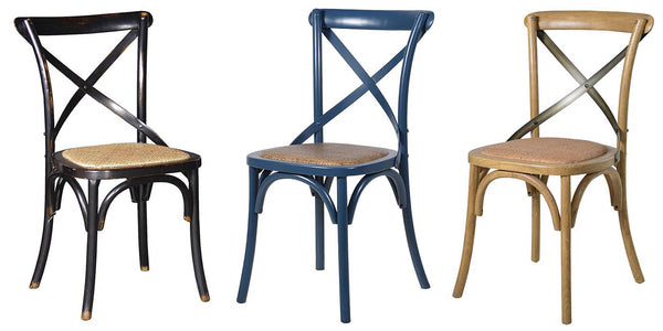 Blue Cross Back Dining Chair pair