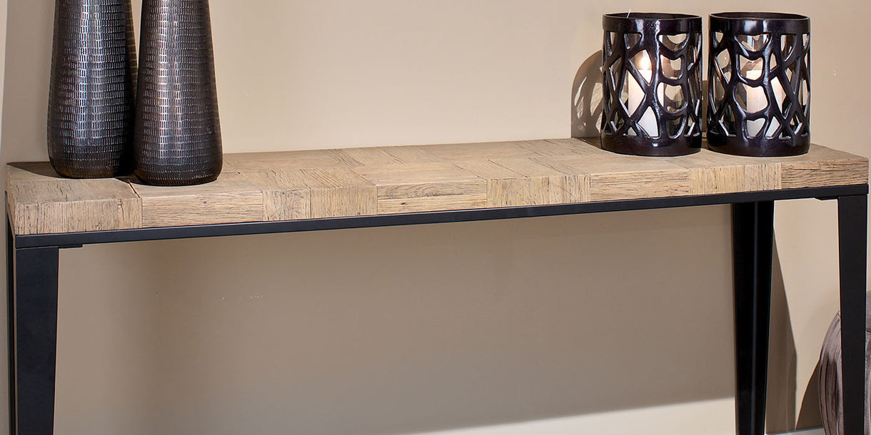 Bonanza Reclaimed Oak Console Table Close up