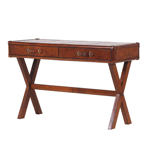 Bordon Brown Leather Two Drawer Desk