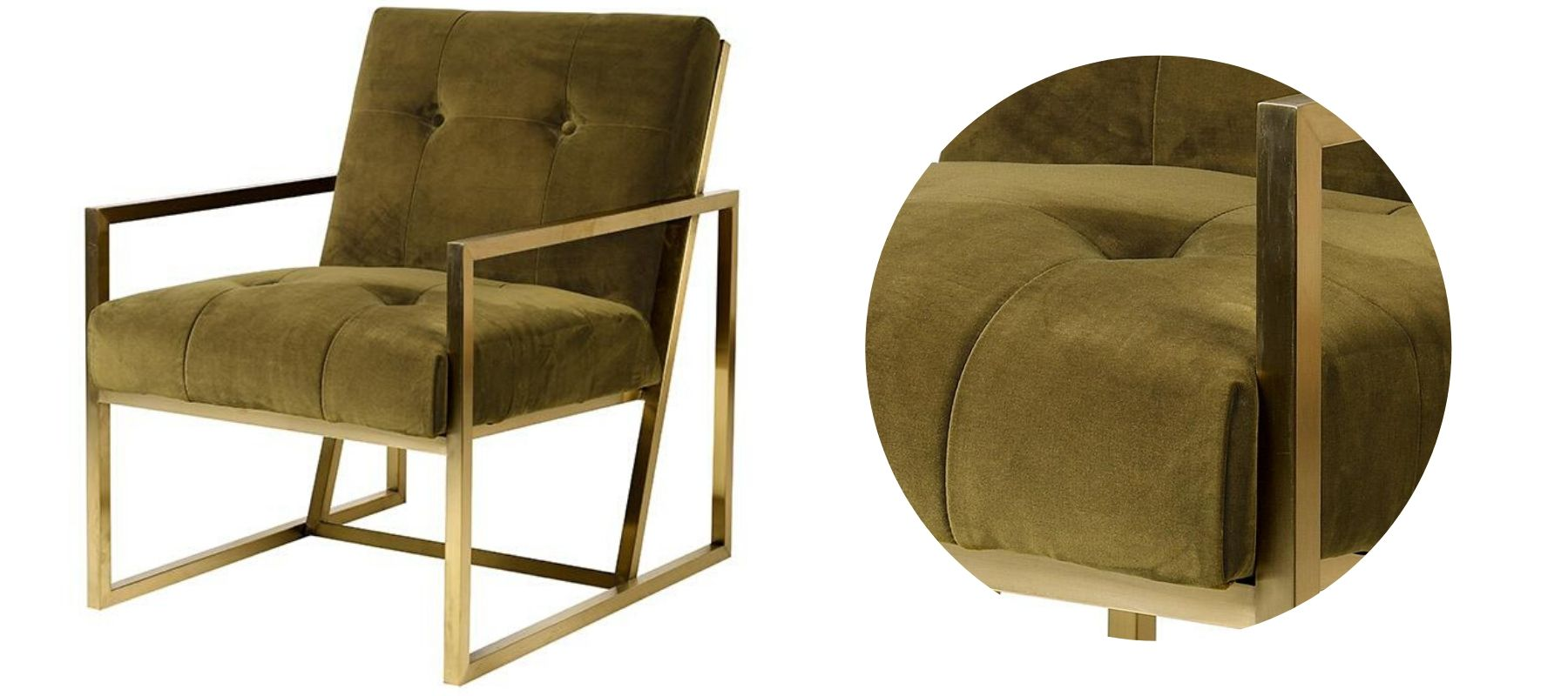 Green velvet armchair with bronze coloured frame