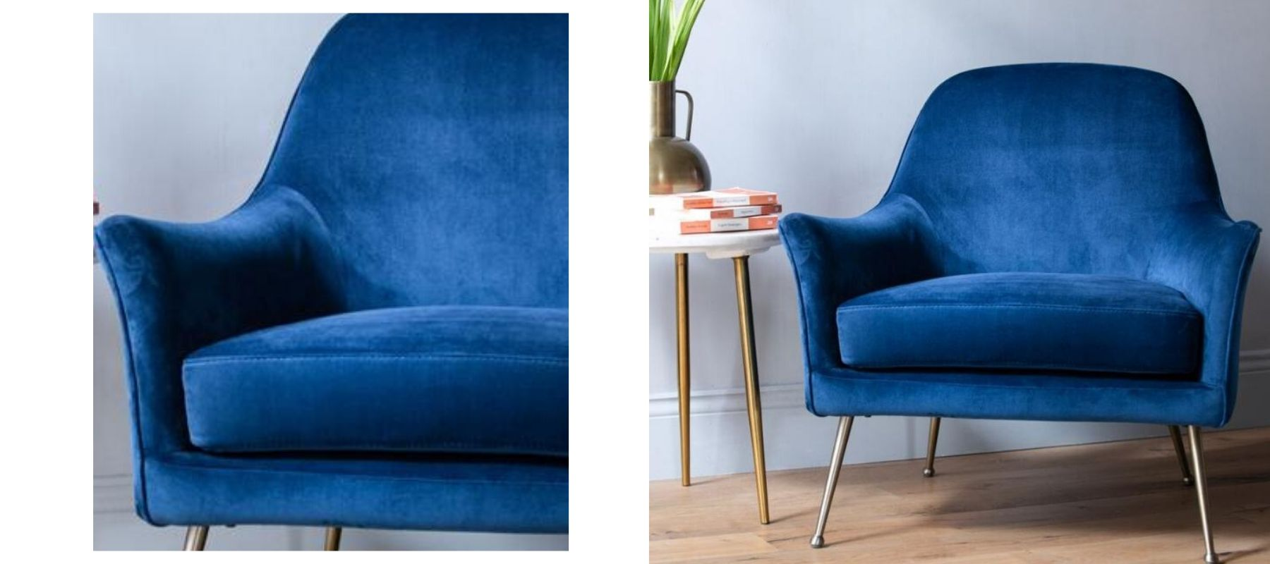 Electric blue velvet armchair
