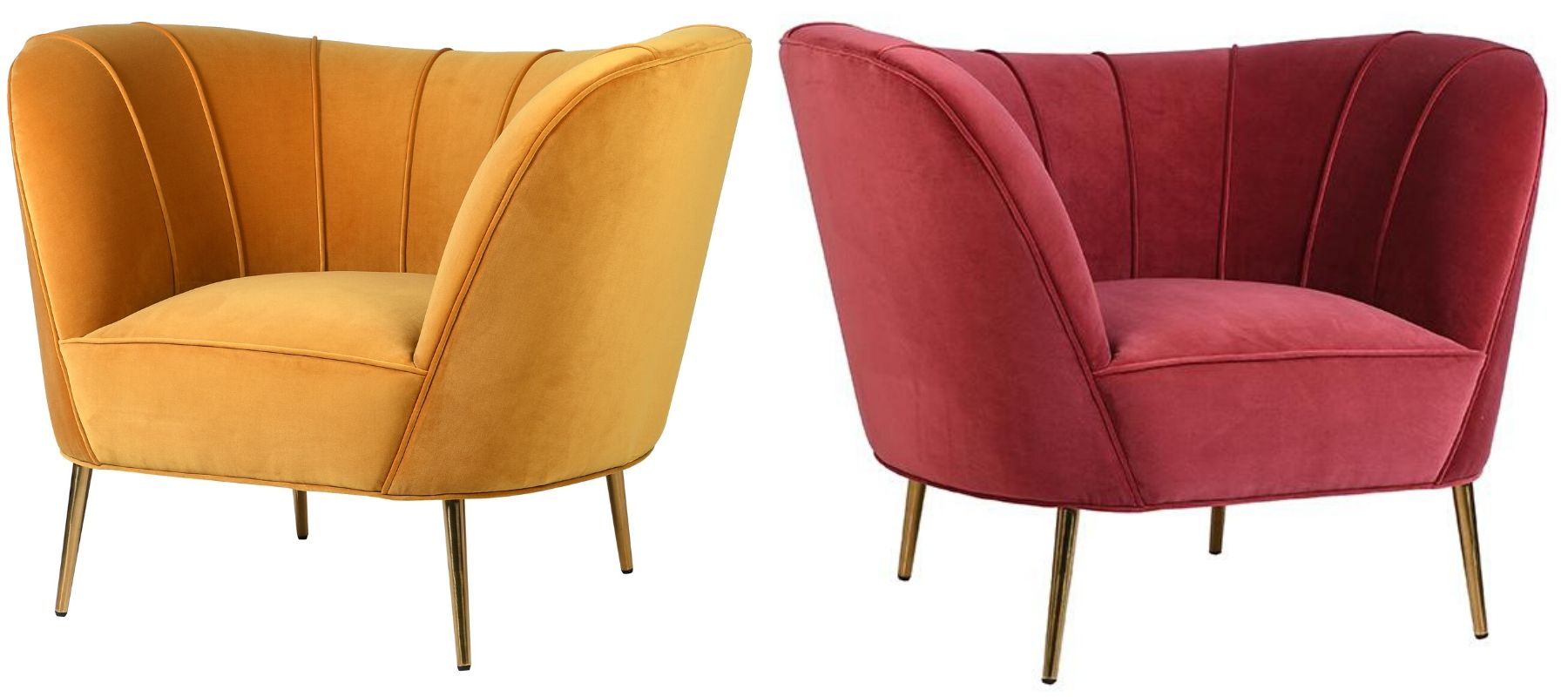 Bright yellow and dusky pink velvet armchairs with gold metal legs