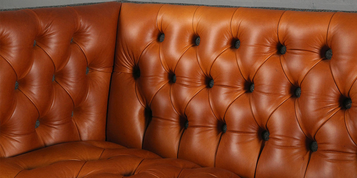 Bristol Leather and Harris Tweed Sofa close up