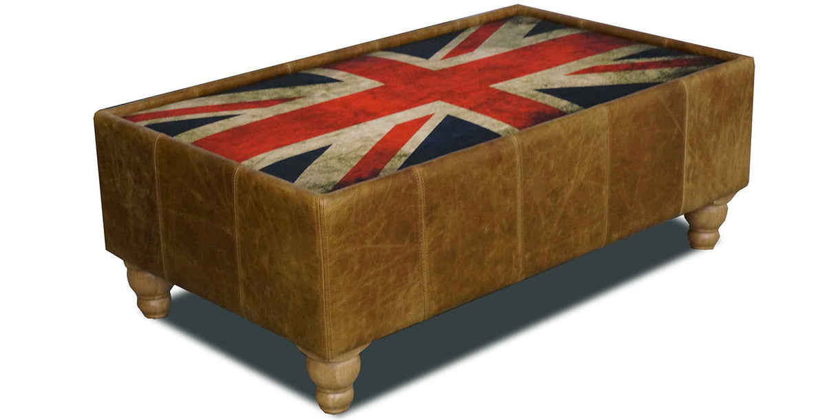 Brown Cerato Leather Coffee Table Union Jack