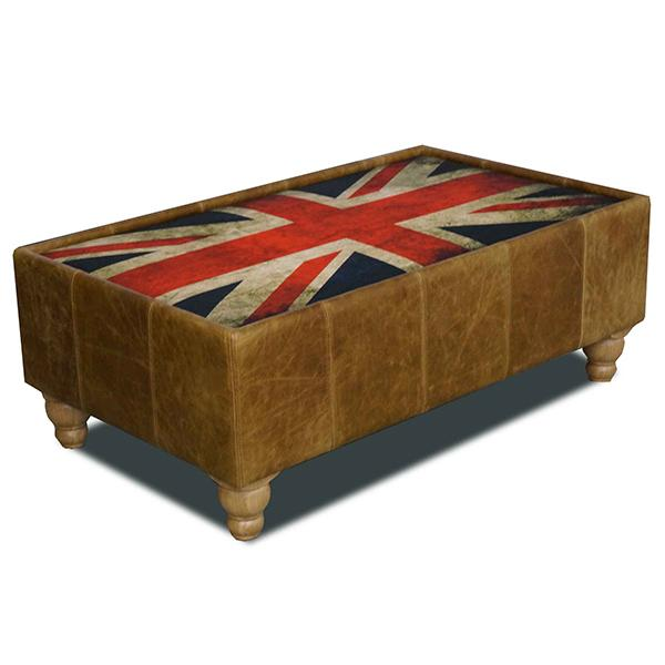 Leather Coffee Table Union Jack