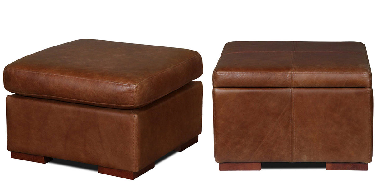 Leather Cushioned Storage Footstools