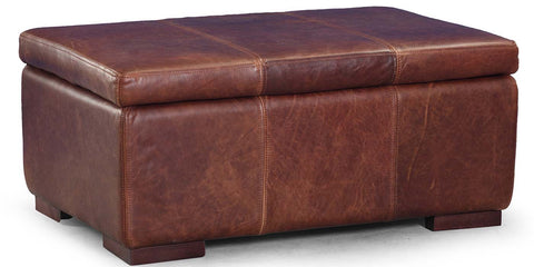 Brown Cerato Leather Storage Footstool