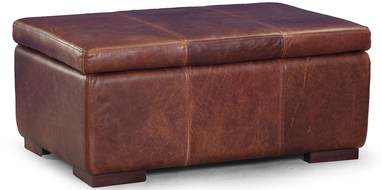 Brown Leather Storage Footstool