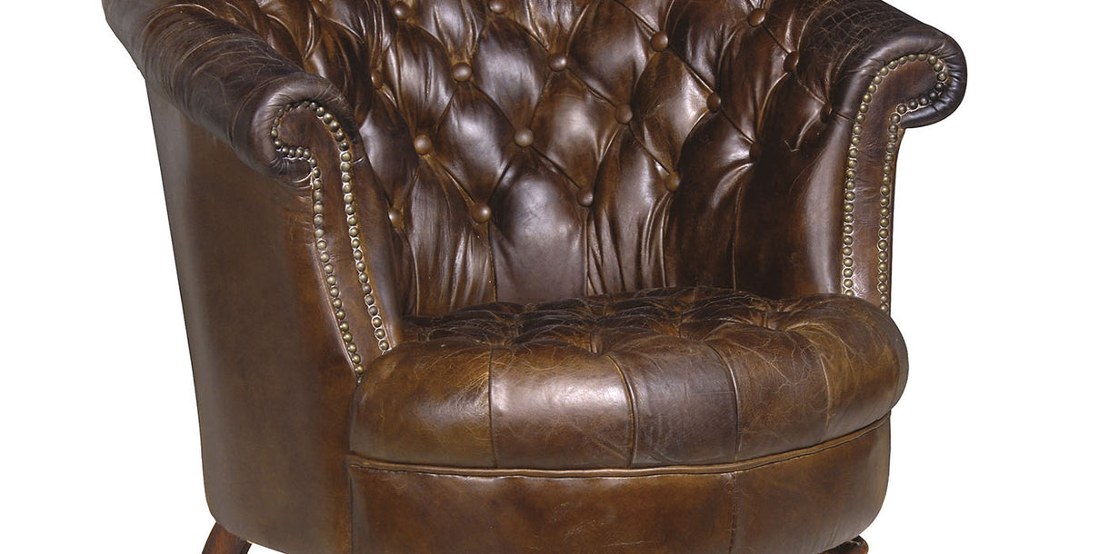 Madame Brown Leather Buttoned Club Chair detail