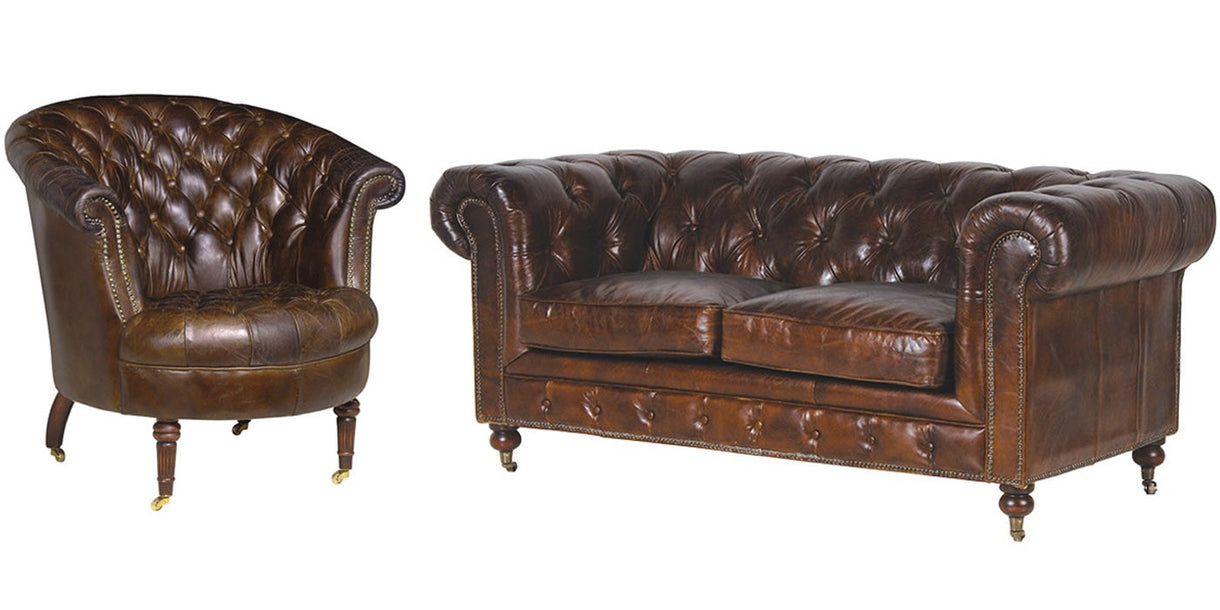 Leather Chesterfield Armchair and Sofa