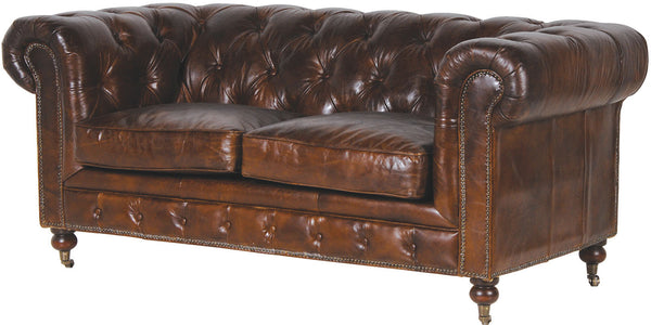 Brown Leather Vintage Two Seater Chesterfield
