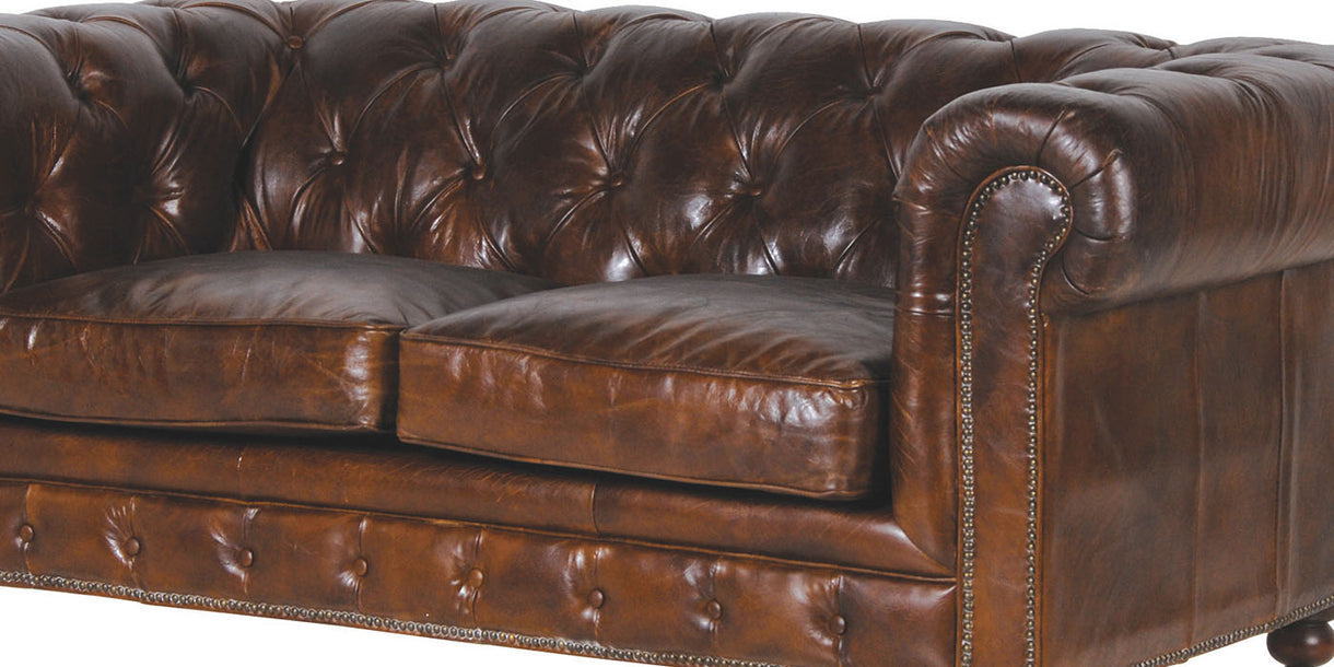 Brown Leather Sofa Close up