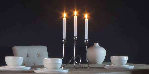 Bud Candelabra Candle Holder on Dining Table