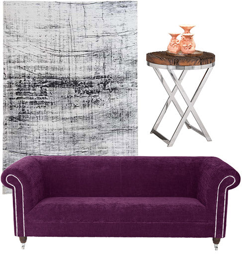 Byron Amethyst Crushed Velvet Chesterfield Sofa Modish Living