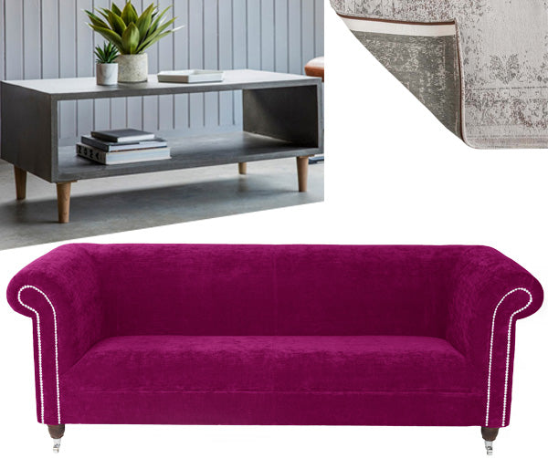 Byron Crushed Velvet Fuchsia Chesterfield Sofa Modish Living