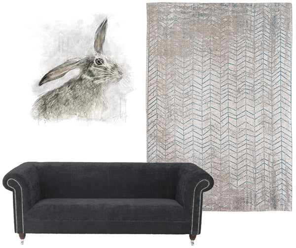 Byron Velvet Sofa and Louis de Poortere Rug