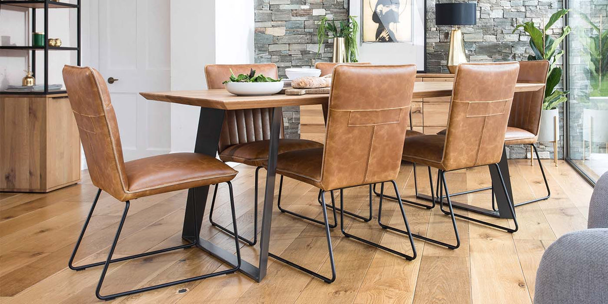 Cleo Tan PU Leather Industrial Dining Chairs