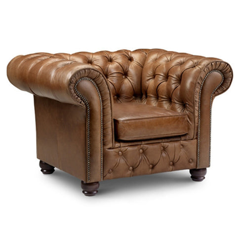 Leather Chesterfield armchair for living room