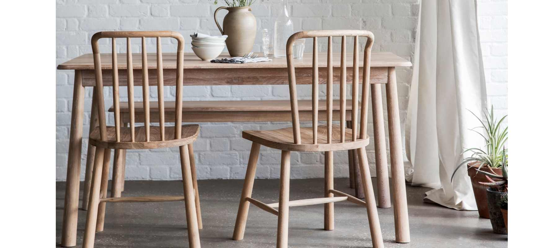 Hudson Living Wycombe Oak Dining Chair and Table