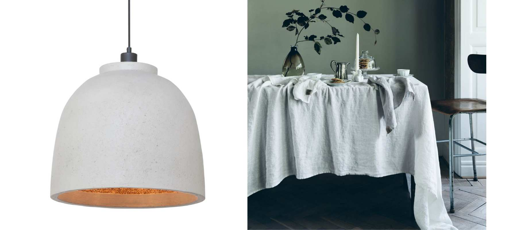 Image of white woodchip pendant ceiling light and white linen tablecloth