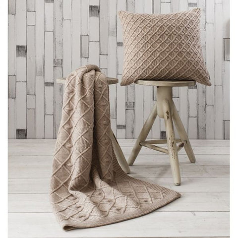 Natural Cable Knitted Throw