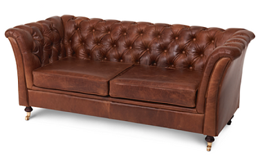 caeser brown leather 2 seater sofa