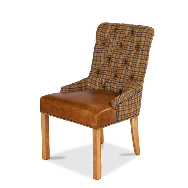 Castello Leather Dining Chair in Harris Tweed and Leather