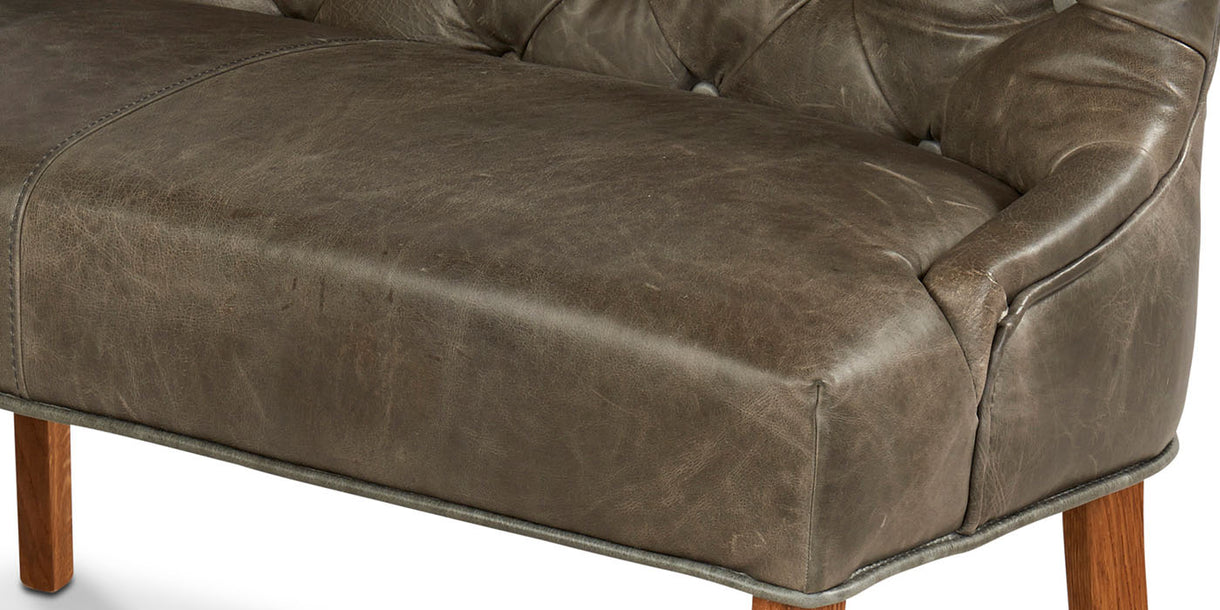 Castello Leather Dining Bench close up