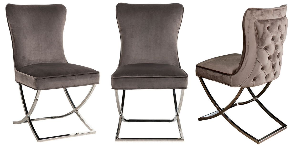 Celine Mouse Grey Fabric Dining Chairs