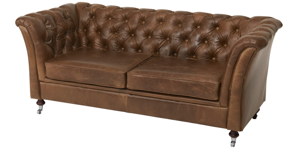 Granby Brown Leather Chesterfield Sofa