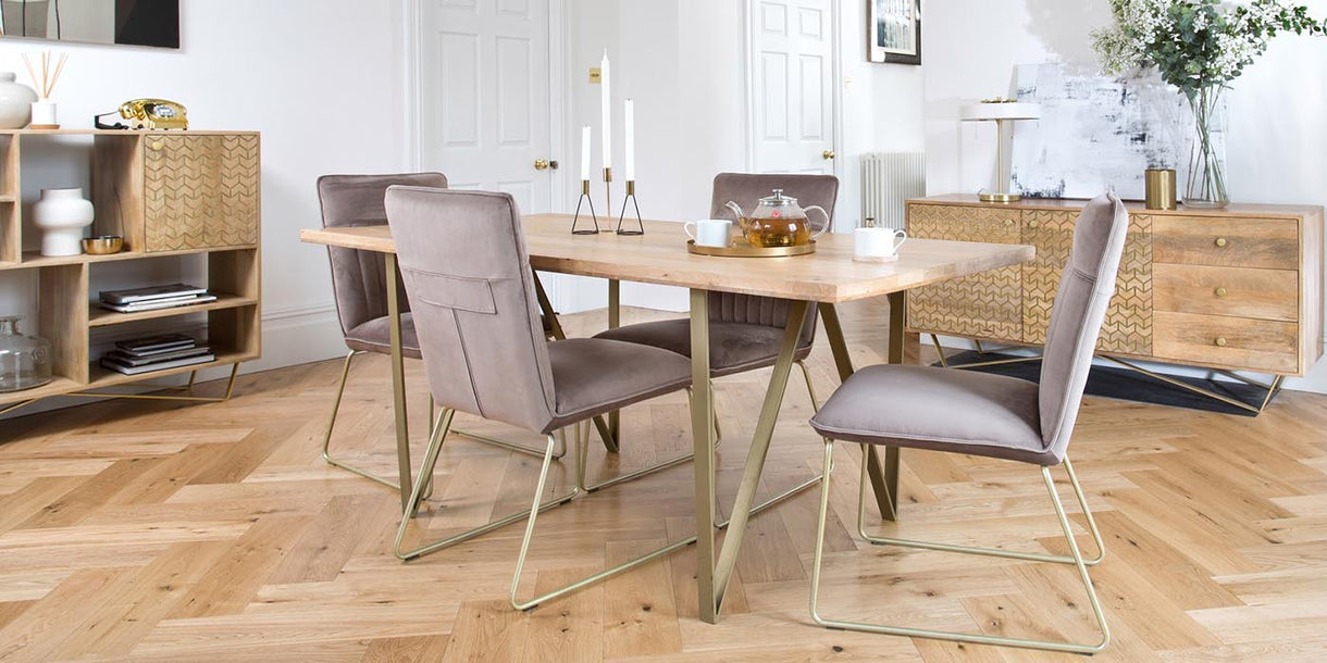Chalfont Industrial Wood Dining Table and Velvet Chairs
