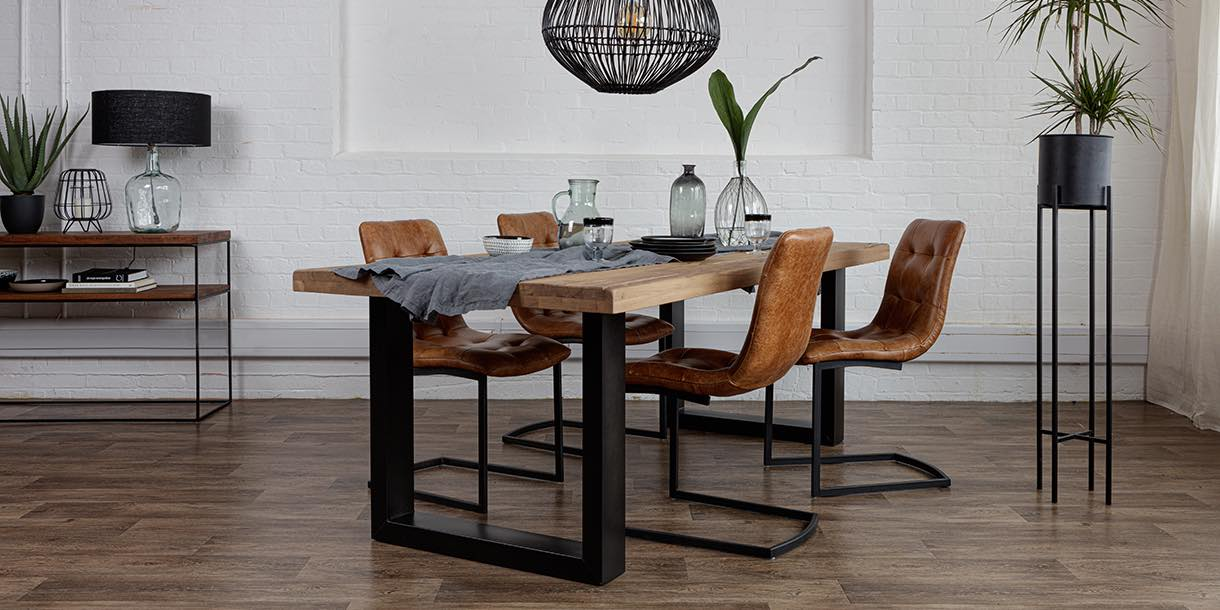 Charlton Reclaimed Oak Dining Table with Black Steel legs and Leather Chairs