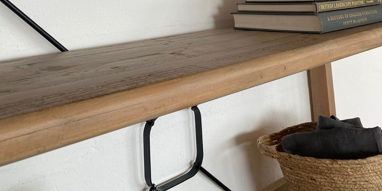 close up of reclaimed wood bookcase
