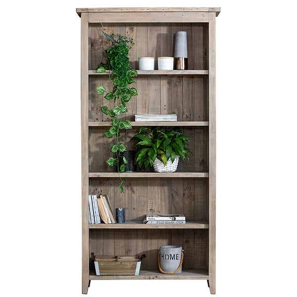 Reclaimed Wood Bookcase Styled With Plants and Books