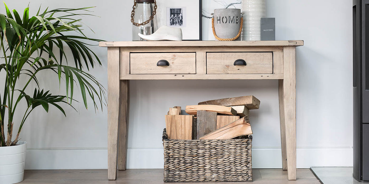 Chelwood Reclaimed Wood Console Table in Room