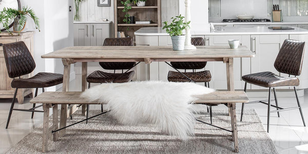 Chelwood Reclaimed Wood Dining Table and Bench