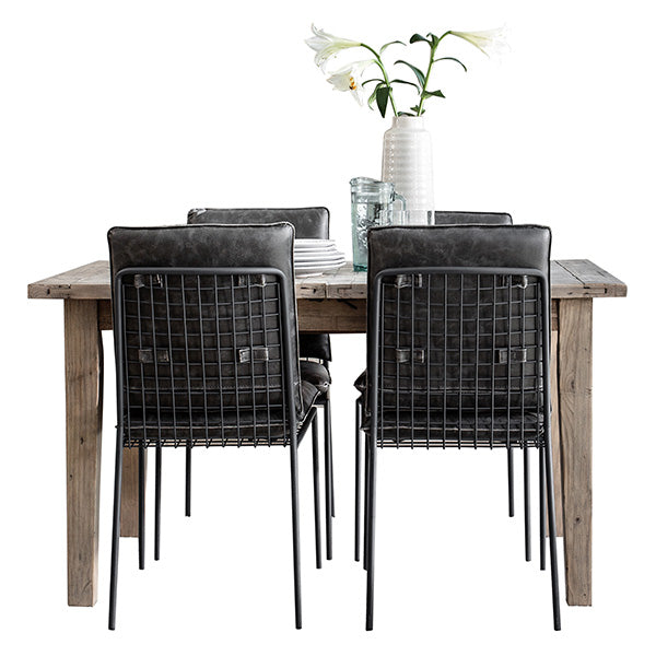 Reclaimed Wood Dining Table and Faux Leather Dining Chairs