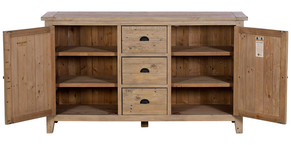 Chelwood Large Reclaimed Wood Sideboard Opened